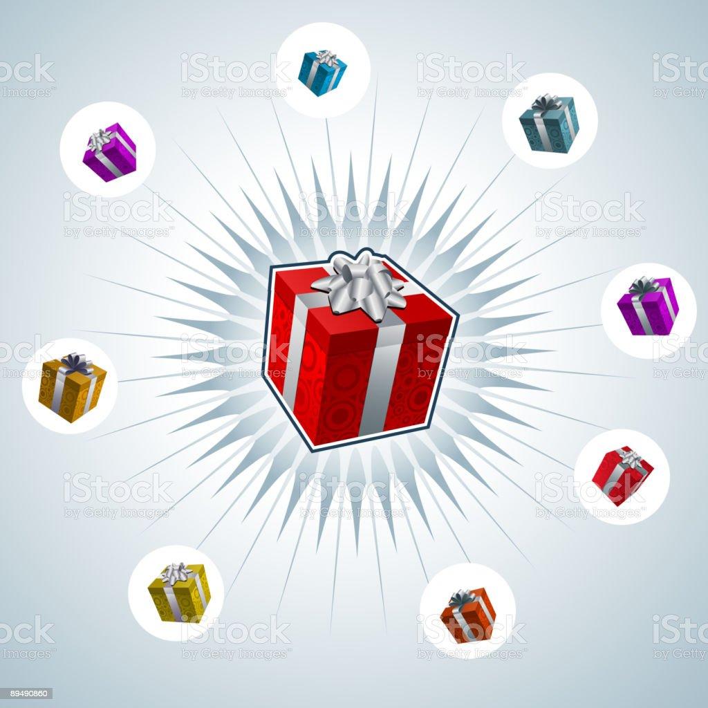 abstract gift box star vector art illustration