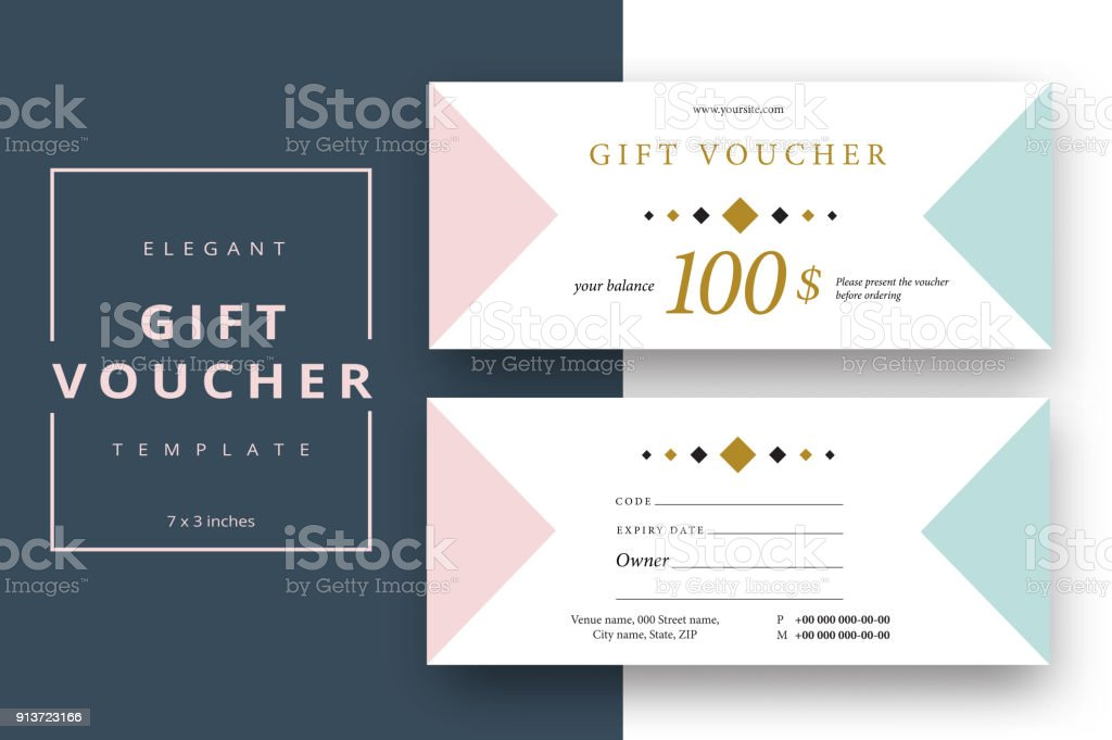 Abstract Gift Voucher Card Template Modern Discount Coupon Or ...