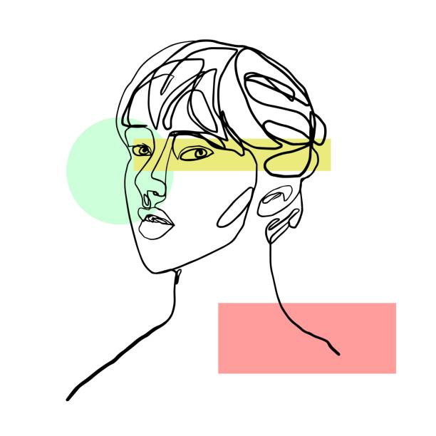 Abstract girl portrait drawn by one line. Abstract girl portrait drawn by one line. The girl's face is drawn by a continuous line on a white background and geometric details. isolated color stock illustrations