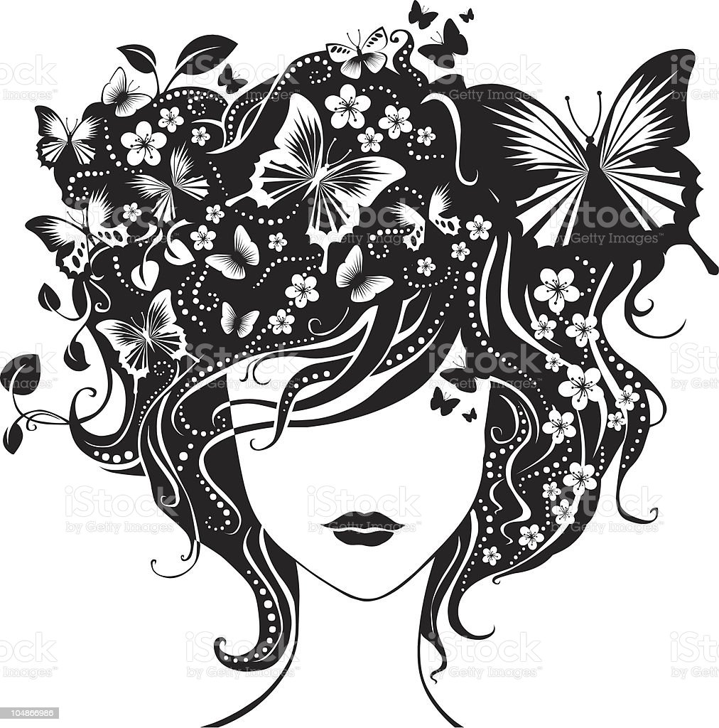 Abstract girl with butterflies in hair royalty-free abstract girl with butterflies in hair stock vector art & more images of abstract