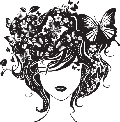 Abstract girl with butterflies in hair