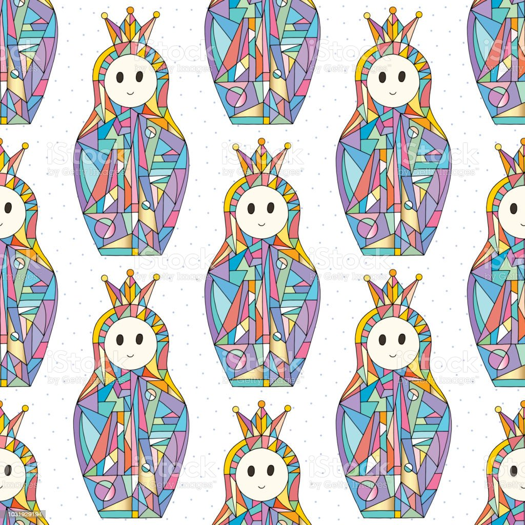 Abstract Girls Vector Seamless Pattern Nesting Doll Characters Texture For Surface Design Textile