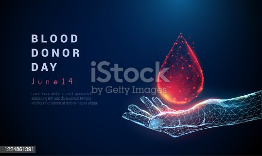 istock Abstract giving hand. Low poly style design. 1224861391
