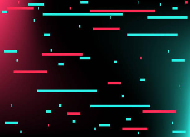 abstract glitch tiktok background. vector illustration. abstract background. light. futuristic blue red gradient vector black background contrast color border digital dynamic elegant. tiktok, tik tok - tiktok stock illustrations