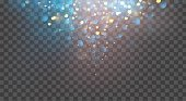 Abstract glitter background. Vector gold glitter particles and lights on transparent background. Sparkling texture.