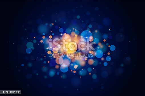 Abstract vector gold and blue bokeh background. The eps file is organised into layers for the background, the bokeh, the lights and the stars.