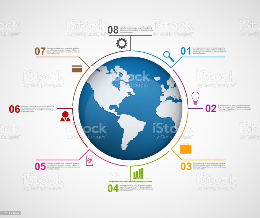Abstract global infographic design template. vector art illustration
