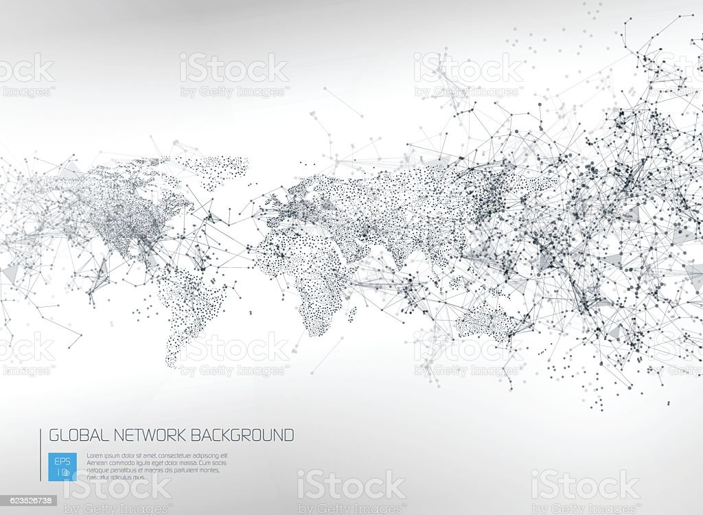 Abstract Global Network Background vector art illustration