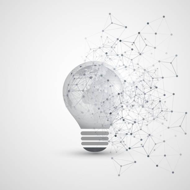 Résumé Global Network Connections Concept Design avec ampoule, maillage géométrique transparente - Illustration vectorielle