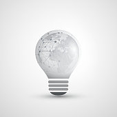 Abstract Global Network Connections Concept Design with Light Bulb, Transparent Geometric Mesh