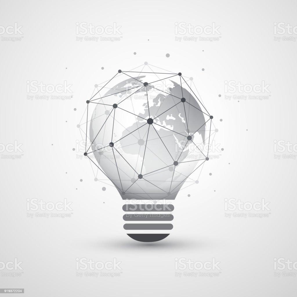Résumé Global Network Connections Concept Design avec ampoule - Illustration vectorielle
