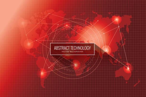 ilustrações de stock, clip art, desenhos animados e ícones de abstract global network technology background - vr red background