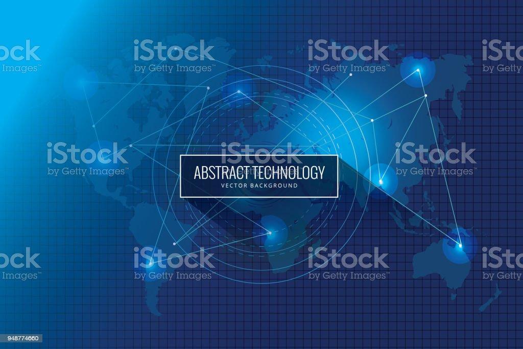 Abstract global network technology innovation concept background design vector art illustration