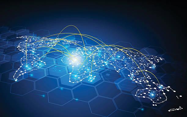 projekt ruch tło globalny komunikacja koncepcja połączenia sieci transportowej - globalny stock illustrations