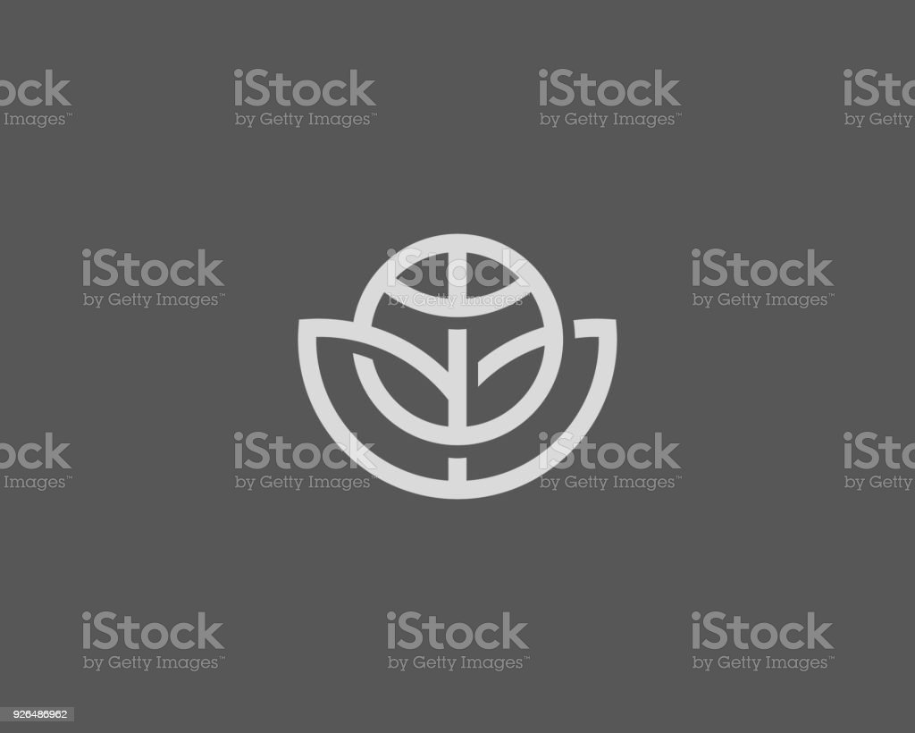 Abstract globe flower vector  design. Global leaf eco logotype. Linear game team ball icon symbol vector art illustration