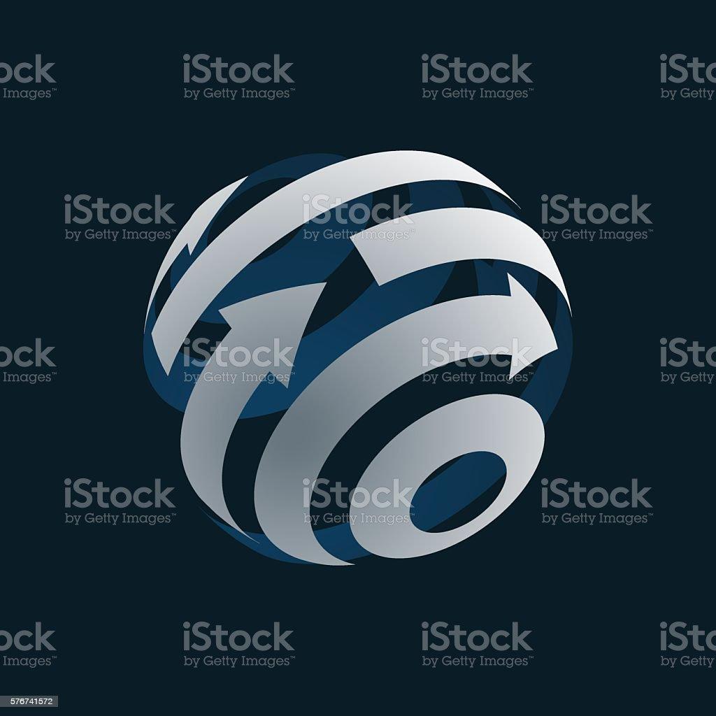 Abstract Globe Logo Element. Rotating Arrows. vector art illustration