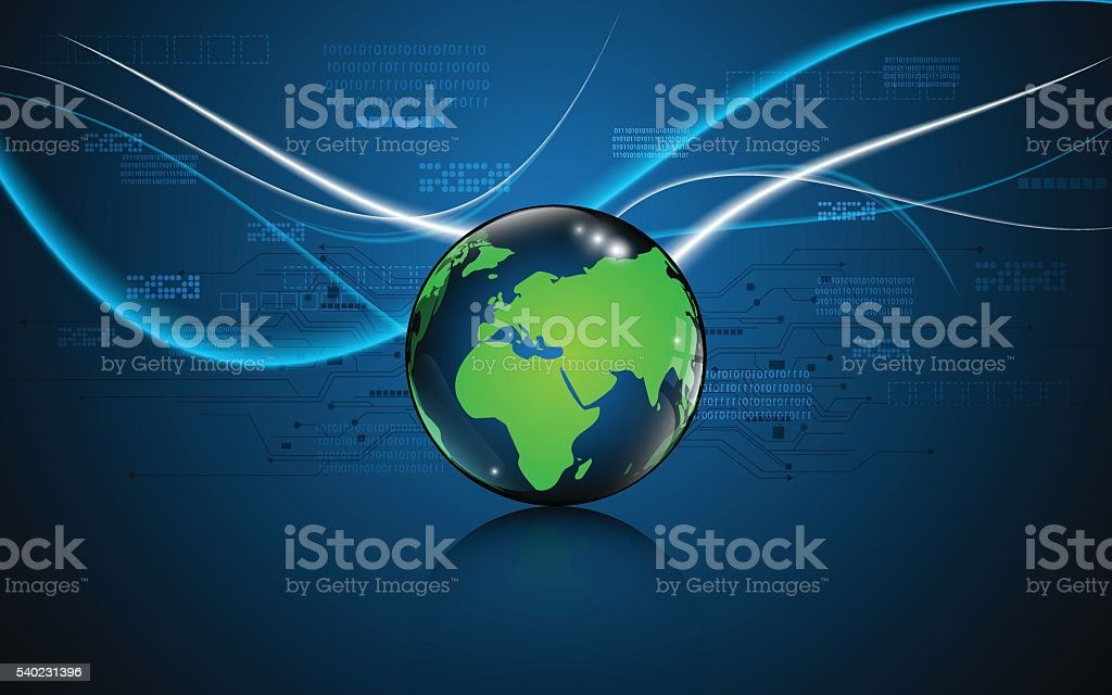 Ilustracin de abstract globe with green world map tech innovative abstract globe with green world map tech innovative design background ilustracin de abstract globe with green gumiabroncs Gallery