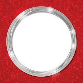 Abstract glow silver circle frame. Christmas vector for your design