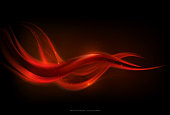 Abstract glow red wave stripe on dark background, vector illustration