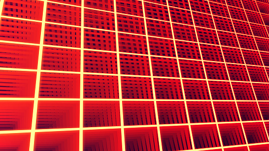 Abstract glowing background in perspective - Digital electronic grid.