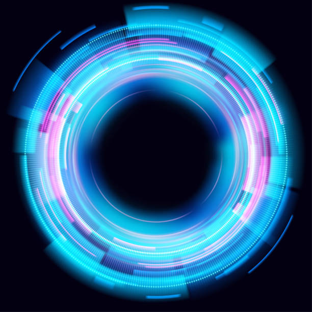Abstrakte leuchtende Kreise auf schwarzem Hintergrund. Magische Kreis Lichteffekte. Illustration isoliert auf dunklem Hintergrund. Mystisches Portal. Glühring. Magische Neon-Ball. Vektor. Eps10 – Vektorgrafik