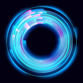 Abstract glowing circles on black background. Magic circle light effects. Illustration isolated on dark background. Mystical portal. Glow ring. Magic neon ball. Vector.