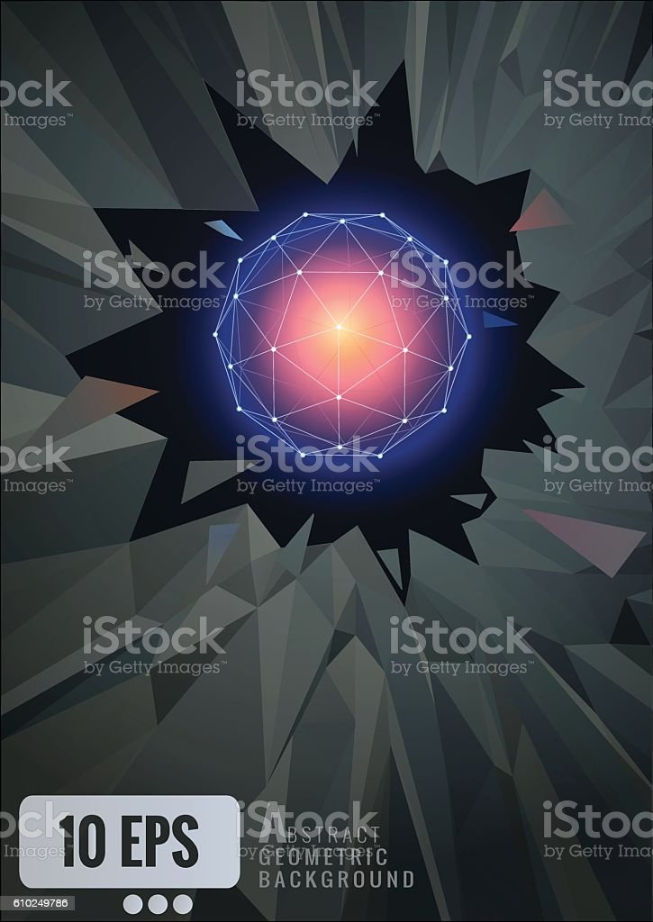 Abstract glowing geometric wireframe on shatter background vector art illustration