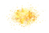 Abstract vector gold bokeh background on white background. The eps file is organised into layers for the background, the bokeh, the lights and the stars.
