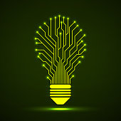 Abstract, Lamp, Circuit board, Idea, Creative, Light, Neon, Glow