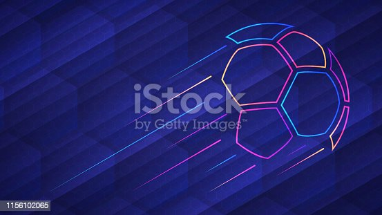 istock Abstract glowing neon colored soccer ball over blue background 1156102065