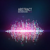 Abstract glowing sound waves on dark background Flow data vector illustration