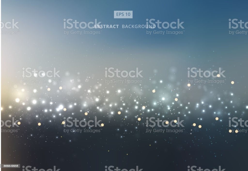 Abstract gold and silver bokeh with sky background. vector art illustration