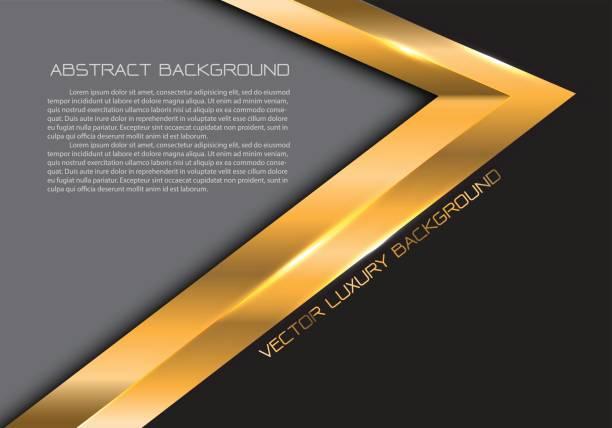 abstrakte gold pfeil auf schwarz grau leerzeichen für text platz design moderner luxus kreative hintergrund vektor-illustration. - edelrost stock-grafiken, -clipart, -cartoons und -symbole