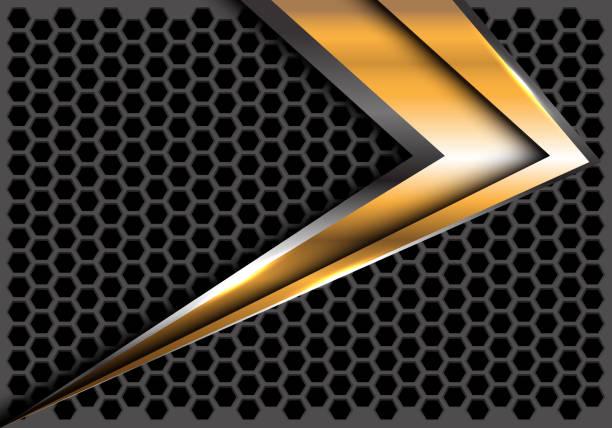 abstrakte gold pfeil geschwindigkeit auf dunklen grauen sechseck mesh design moderne futuristische hintergrund vektor-illustration. - edelrost stock-grafiken, -clipart, -cartoons und -symbole