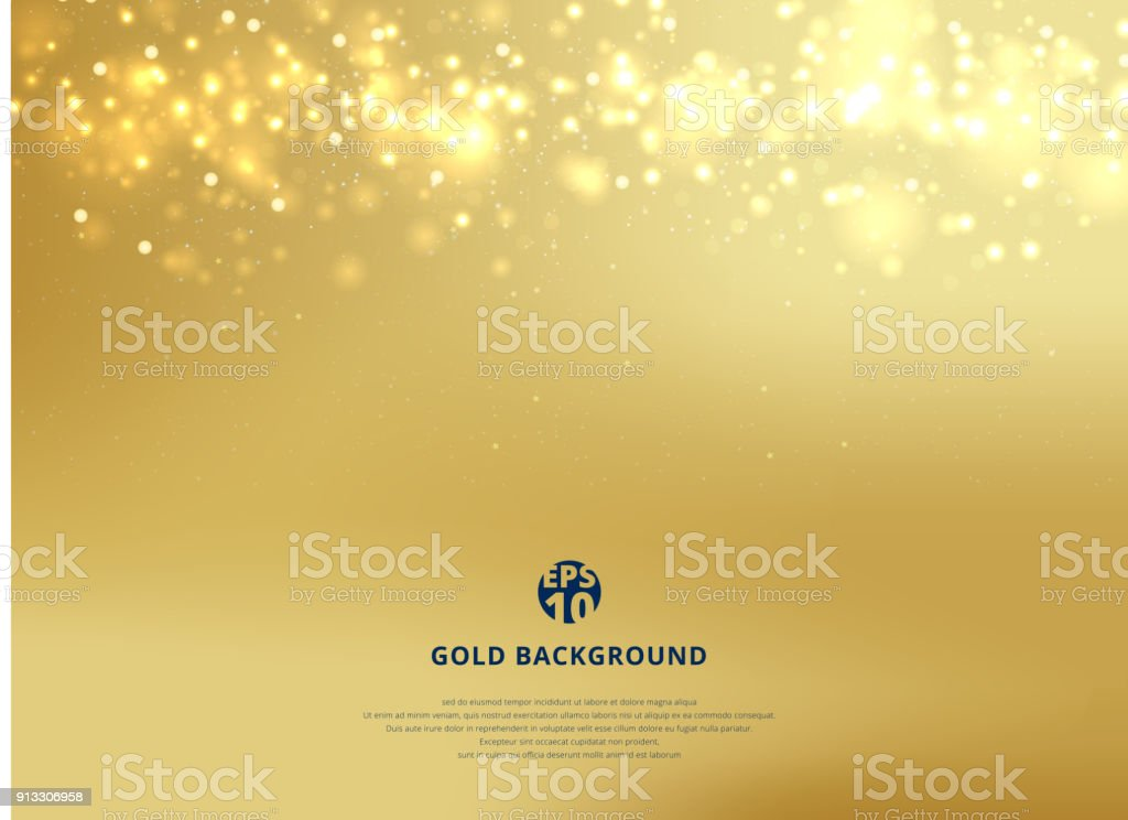 Abstract gold blurred background with bokeh and gold glitter header. vector art illustration