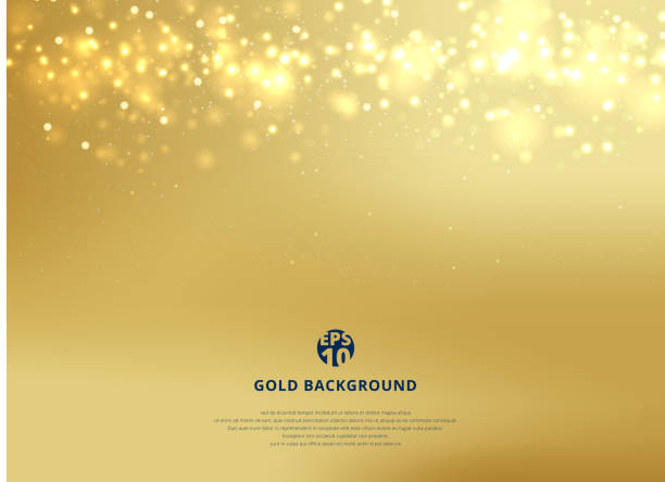 abstract gold blurred background with bokeh and gold glitter header. - gold stock illustrations