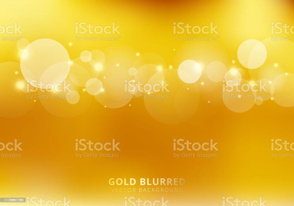 Resumen oro fondo borroso con círculos bokeh y chispa. Estilo de lujo. ilustración de resumen oro fondo borroso con círculos bokeh y chispa estilo de lujo y más vectores libres de derechos de abstracto libre de derechos