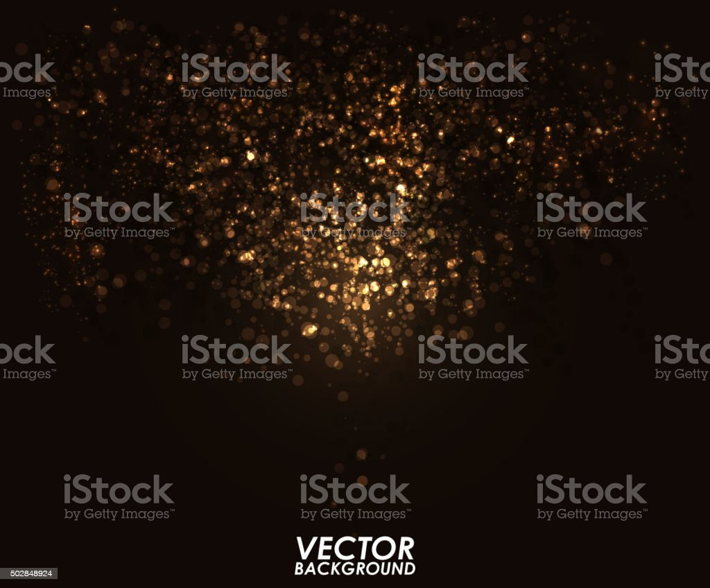 Abstract gold bokeh digital background. Graphic resources design template. vector art illustration