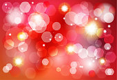 Holiday Festive Abstract Red Wallpaper with Gold Bokeh lights, Silver & Golden defocused sparkles & gold stars, luxury, shine lights effect. Fireworks Night Party, Carnival Celebrate Vector illustration for Gold Christmas Decoration Winter Holiday Event invitation background, Birthday Gift Card, Patriotic Day, Poster, Banner Template Modern Design.