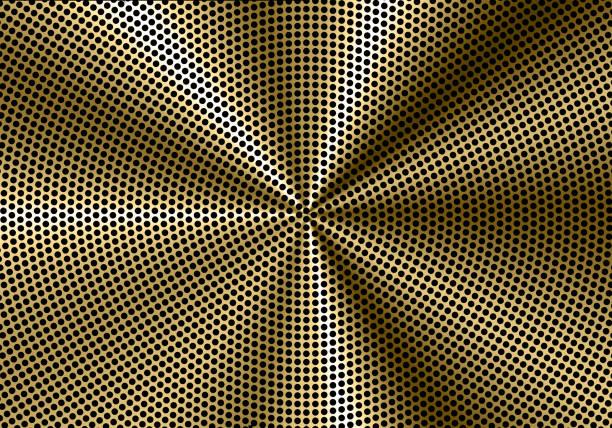 abstrakte goldener kreis mesh lautsprecher muster hintergrund vektor-illustration. - edelrost stock-grafiken, -clipart, -cartoons und -symbole
