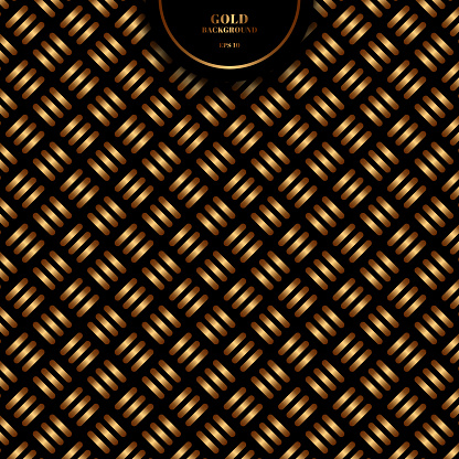 Abstract gold geometric cross pattern bold line on black background and texture.