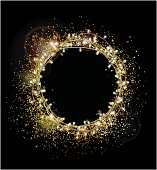 Abstract gold glitter background. Bright stars and lamps for holiday postcard