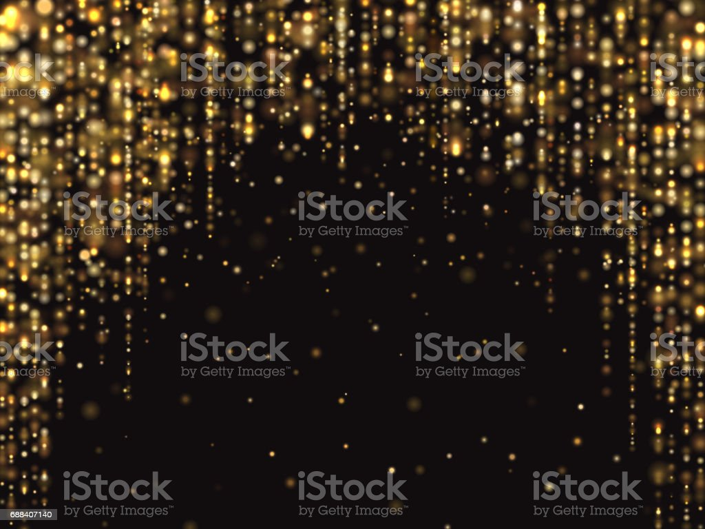 Abstract gold glitter lights vector background with falling sparkle dust. Luxury rich texture vector art illustration