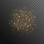 Abstract gold glittering overlay effect on transparent black background for holiday design. Vector Illustration. Golden scattered sparkles
