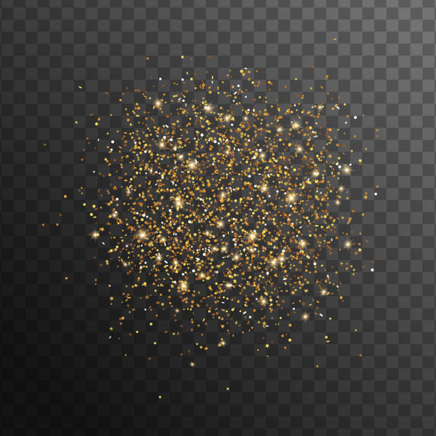 Abstract gold glittering overlay effect Abstract gold glittering overlay effect on transparent black background for holiday design. Vector Illustration. Golden scattered sparkles pollen stock illustrations