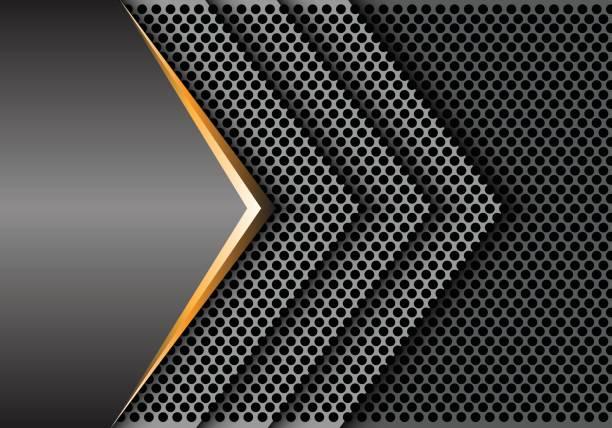 abstrakter gold grau metall kreis mesh pfeil überlappung design moderner luxus hintergrund textur vektor-illustration. - edelrost stock-grafiken, -clipart, -cartoons und -symbole