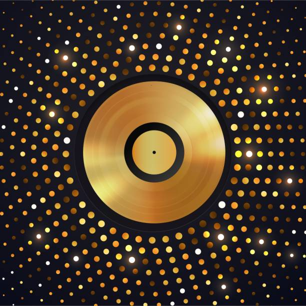abstract gold halftone circle background with golden vinyl disc on . music disco party shiny luxury banner. music award template - record analog audio stock illustrations