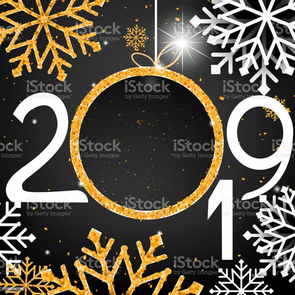 abstract gold happy new year 2019 on black background with empty space label for text and