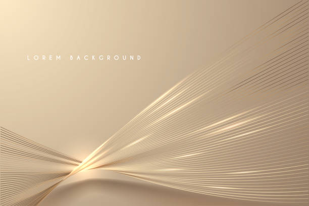 stockillustraties, clipart, cartoons en iconen met abstract goud licht draden achtergrond - luxe