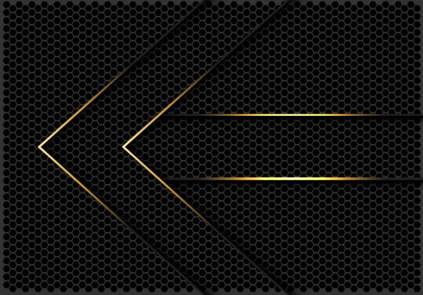 abstrakte pfeilrichtung der goldenen linien auf dunkelgrauem sechseckgewebe entwerfen moderne futuristische hintergrundvektordarstellung. - edelrost stock-grafiken, -clipart, -cartoons und -symbole
